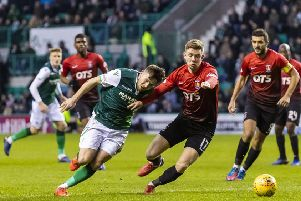 Hibs in action against Kilmarnock. The two sides are going head-to-head in the battle for fourth spot. Picture: SNS Group