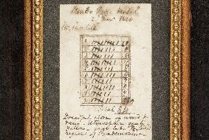 The oldest scorecard in the world from when a Mr Cundell played Musselburgh in 1820. Picture: Contributed