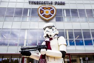 A Stormtrooper arrives at Tynecastle for May the 4th ahead of Hearts v Kilmarnock. Pic: SNS