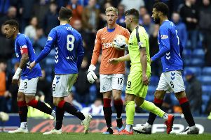 Hibs lost the match at Ibrox 1-0. Picture: SNS