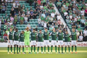A Hibs XI lines up ahead of a Europa League tie. Picture: SNS Group