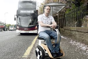 Rab Hallett, who suffers from Fibromylagia and EDS, has been having some issues with the new lothian buses that have been introduced. Pic: Lisa ferguson