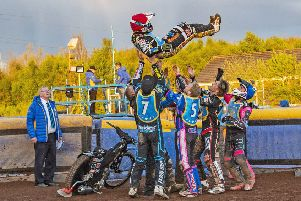 Ricky Wells gets the bumps from his Monarchs team-mates to celebrate his paid maximum as team boss Alex Harkess watches on. Pic: Ron MacNeill
