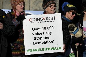 Save Leith Walk demonstrators. Picture: Lisa Ferguson