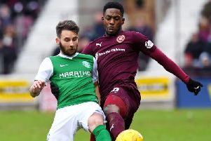 James Keatings in action for Hibs against former club Hearts. Picture: SNS