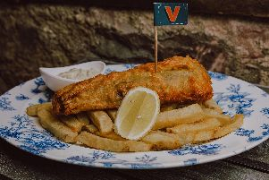 """Vegan """"fish"""" and chips are Bertie's Restaurant and Bar."""