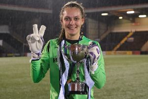Hibs Ladies goalkeeper Jenna Fife saved two penalties in the shoot-out for the SWPL Cup