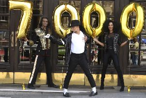 Thriller Live cast celebrate the show's 7000th performance -''Britt Quentin,  ''Kieran Alleyne and ''Ina Seidou