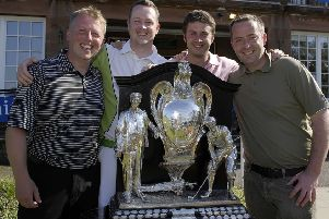 Craig Elliot, far right, and Darren Coyle, second right, pictured with Carrickvale team-mates David Ewan, left and Allyn Dick after winning the Dispatch Trophy back in 2008