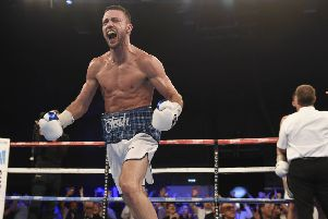 Josh Taylor celebrates after stopping Dave Ryan in the 5th round at Meadowbank Stadium.  Picture: Ian Rutherford