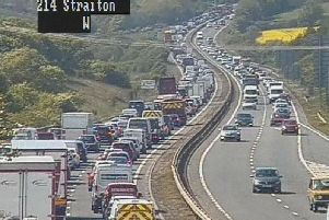The collision has resulted in lengthy delays on the City Bypass. Pic: Traffic Scotland