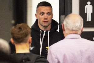 Josh Taylor shows his concern after missing his weight in Glasgow