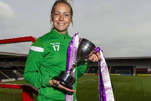 Hibernian's Joelle Murray with the SWPL Cup
