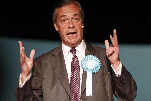 Brexit Party leader Nigel Farage speaks at a European Parliament election campaign rally yesterday. PIC: Adrian Dennis/AFP/Getty Images.