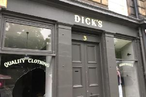 Dick's in Stockbridge with a smashed window
