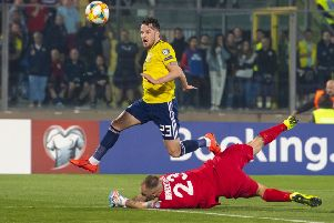Marc McNulty in action for Scotland. Pic: SNS