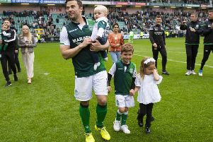 Lewis Stevenson with his family after Sunday's final league game of the season against Aberdeen at Easter Road