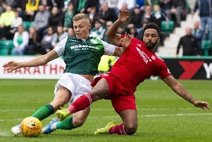 Fraser Murray made his second Hibs start against Aberdeen last weekend. Pic: SNS