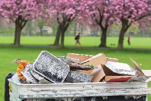 An overflowing bin on the Meadows full of disposable barbecues earlier this year (Photo: Ian Georgeson)