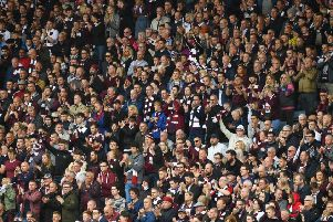 Hearts supporters during the cup final. Pic: SNS
