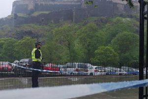 Police cordoned off an area around Castle Terrace. Picture EEN