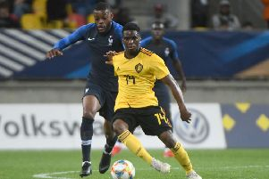 Stephane Omeonga, right, tussles for possession with Olivier Ntcham during Belgium Under-21s' friendly against France on Monday. Pic: Getty