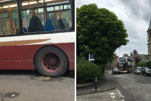 Footage captures the buses mounting the pavement at the corner of Newhaven Road and Stanley Road. Pic: James Glossop.