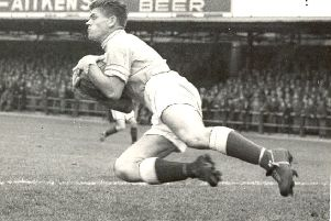 Lawrie Leslie, pictured in action for Hibs back in 1957. Pic: TSPL