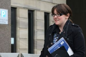 Former SNP MP Natalie McGarry arrives at Glasgow Sheriff Court for sentencing.