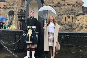 Geri Halliwell posed with Guard of Honour at Edinburgh Castle