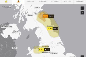 The amber warning will be in force from midnight to 3pm on Thursday. Picture: Met Office