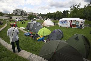 The camp outside Holyrood. Protesters plan to remain there until Thursday