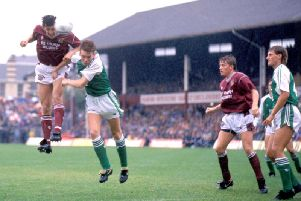 Husref Musemic scoring against Hibs at Tynecastle.