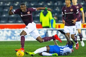 Hearts and Kilmarnock in action at Rugby Park last season.