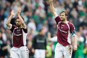 The Steven Pressley salute which Hearts fans became accustomed to. Picture: SNS