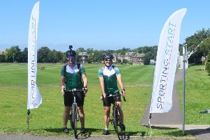 George Salmond, right, ex-Scotland cricket captain and former football ref, and colleague Alasdair MacDonell are cycling from Myreside to Lord's to raise money for Sporting Start.