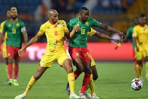 Arnaud Djoum has spent the past few weeks in Africa Cup of Nations action with Cameroon. Pic: AP