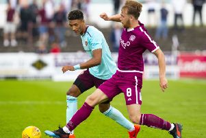 Sean Clare in action for Hearts during pre-season. Pic: SNS