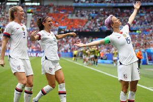 Megan Rapinoe of the USA celebrates scoring the first goal in the Women's World Cup final. Picture: Getty