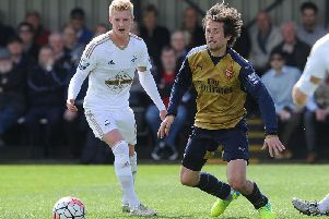 Adam King playing for Swansea's reserves against Arsenal.