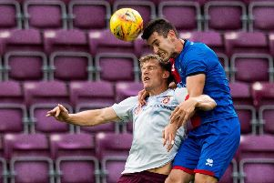 Christophe Berra competes with Nikolay Todorov during the recent Angus Beith benefit match. Picture: SNS