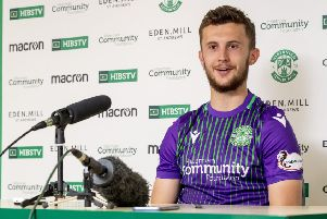 Tom James speaks to the media ahead of Stirling Albion v Hibs. Pic: SNS
