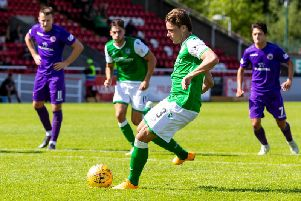 Scott Allan fires Hibs into the lead from the penalty spot against Stirling Albion