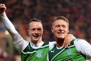 Leigh Griffiths and Garry O'Connor celebrate a goal against Dunfermline during the 2011/12 season