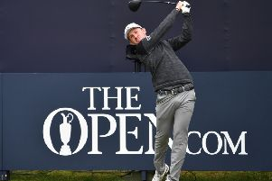 Scotland's Connor Syme tees off from the first hole during a practice session at The 148th Open golf Championship at Royal Portrush