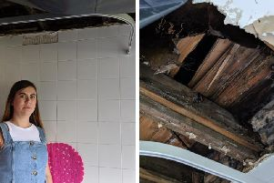 Ms O'Donnall was told the hole in the ceiling would not be fixed unless the story got in the Evening News (Photos: Conor Matchett)