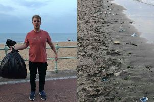 Daniel Pauley collected almost 20kg of waste from Portobello Beach