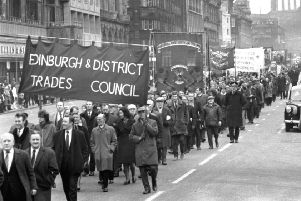 Workers march along Princes Street during the miners' strike in January 1972