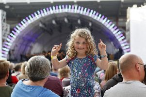 Ruby Smillie, 5, conducting at Tynecastle yesterday. Picture: Alistair Linford