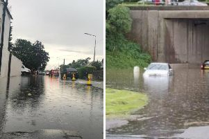 There was major flooding at the roundabout near Edinburgh Airport on Wednesday.